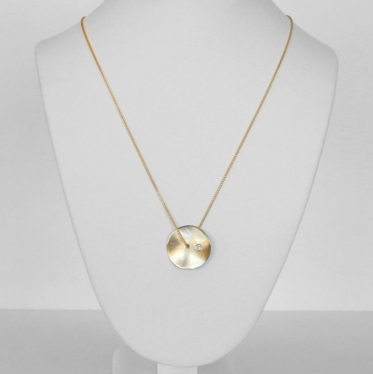 yellow gold diamond disc necklace