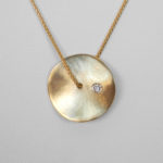 yellow gold diamond disc pendant