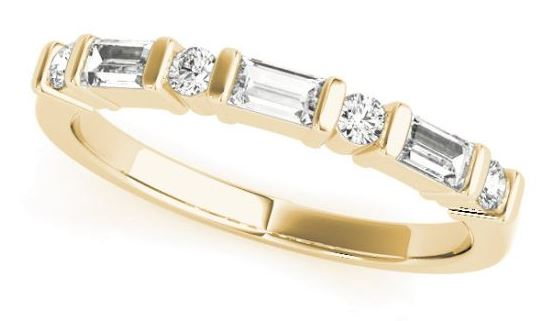 yellow gold baguette and round alternating diamond band