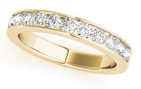 yellow gold channel set diamond band