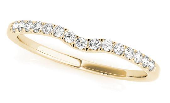 yellow gold contoured diamond band