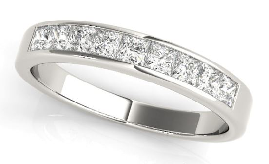 white gold channel set princess cut diamond band