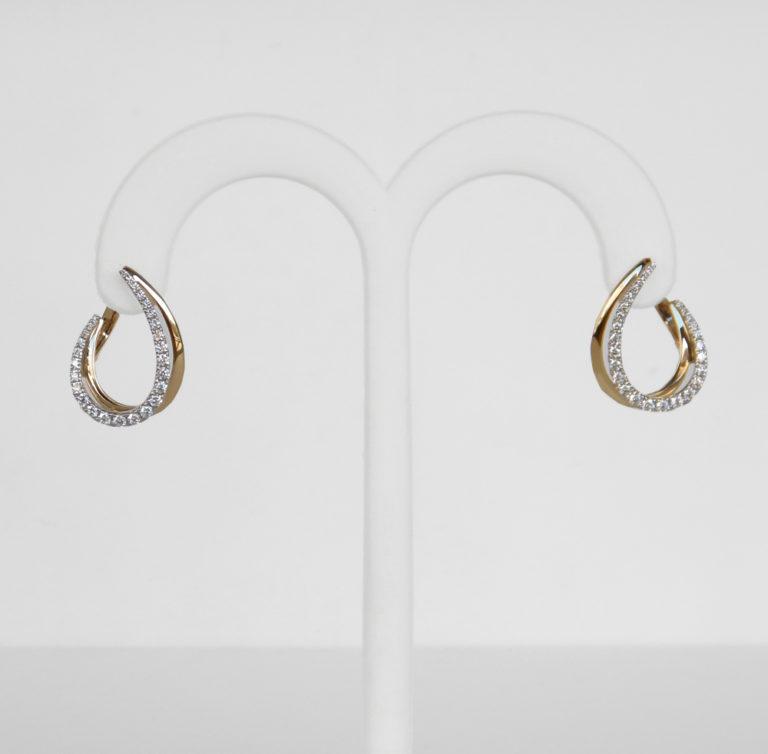 two tone gold diamond hoop earrings