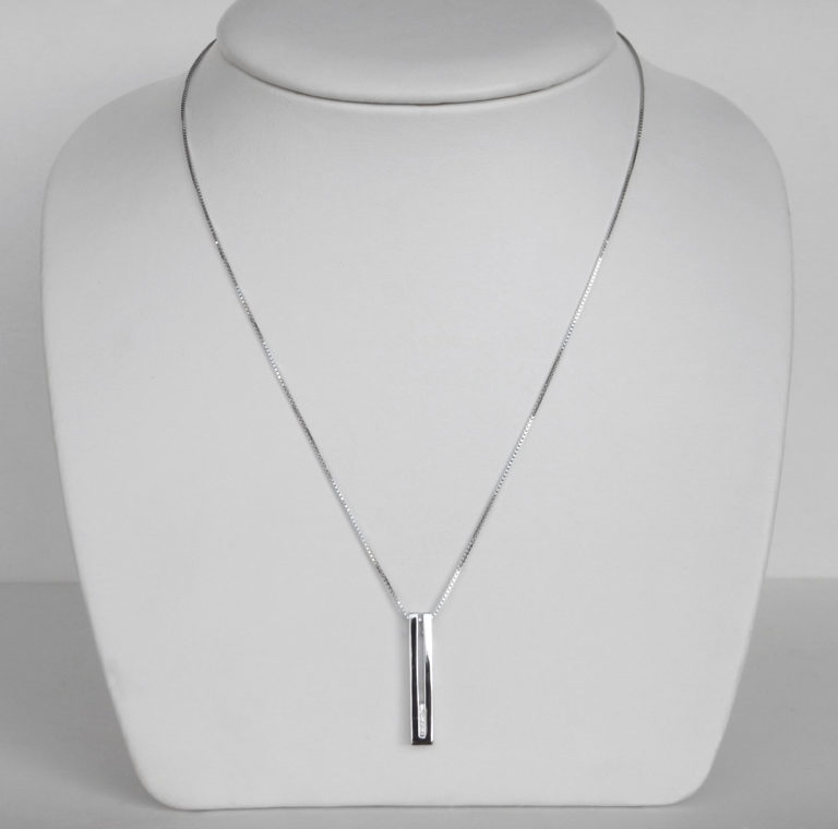 sterling silver diamond line necklace