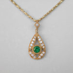 yellow gold emerald and diamond pendant