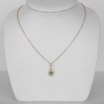 yellow gold emerald and diamond antique style pendant on chain