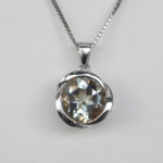 sterling silver green quartz pendant