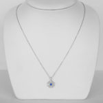 white gold sapphire and diamond pendant on chain