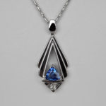 white gold contemporary sapphire pendant