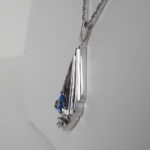 side view of sapphire and diamond pendant