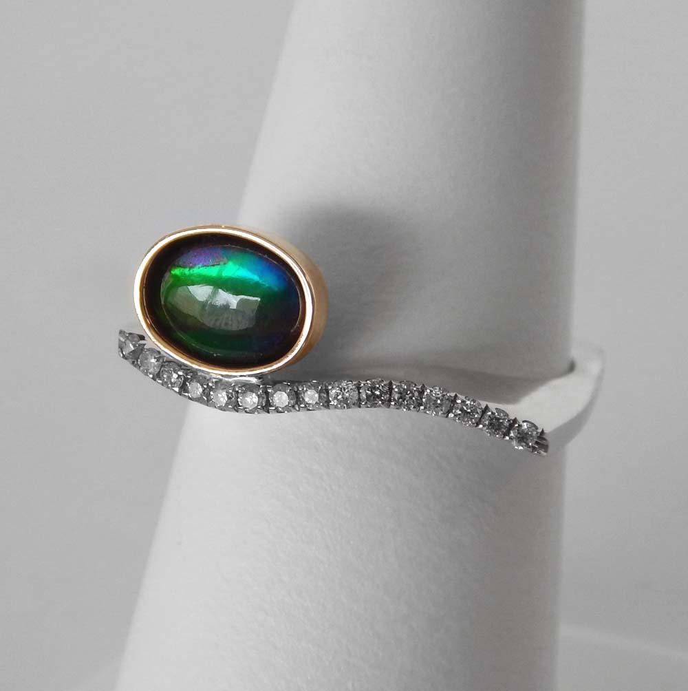 white gold ammolite and diamond fashion ring