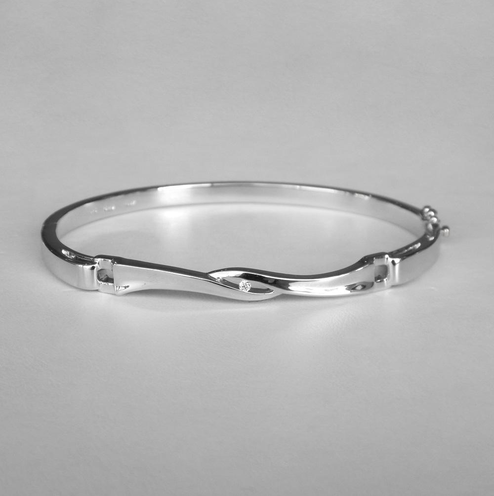 sterling silver diamond bangle