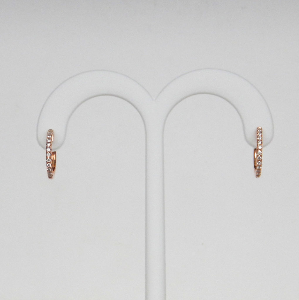 rose gold small diamond hoops