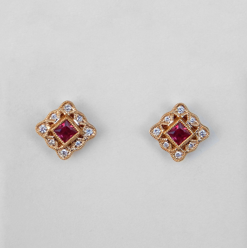 yellow gold ruby and diamond earrings