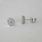 white gold diamond cluster studs