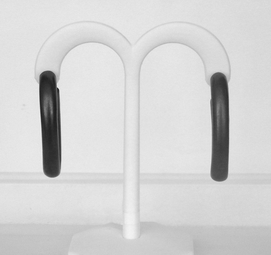 dark grey sterling silver hoop earrings