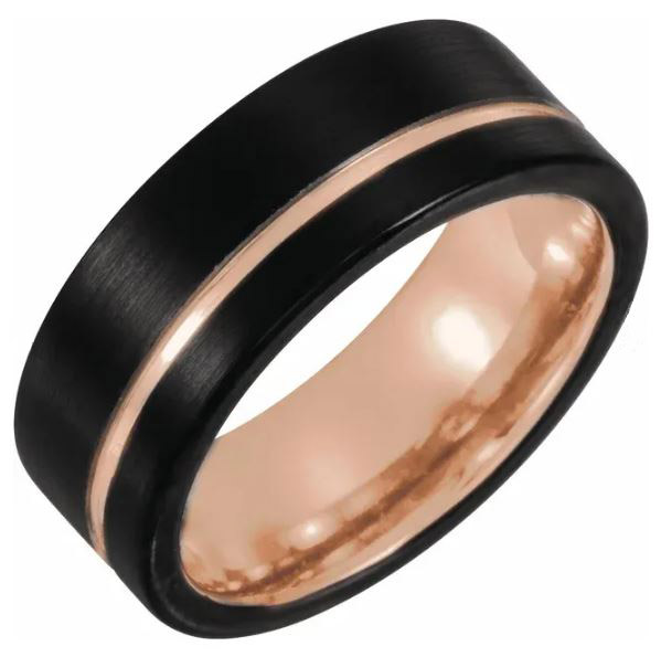 black tungsten and rose gold wedding band