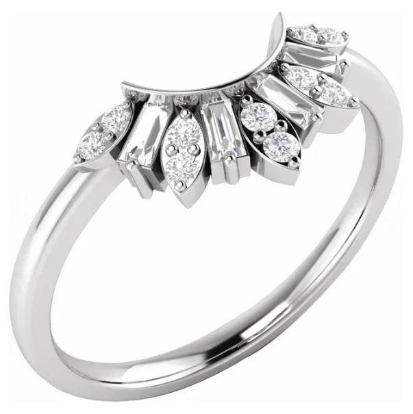 white gold contoured diamond band