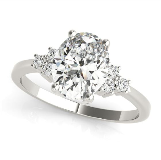 white gold diamond accented engagement ring