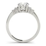 side view of white gold diamond accented engagement ring