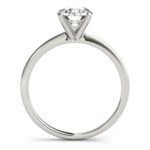 side view of white gold diamond solitaire engagement ring