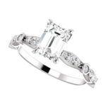 white gold vintage inspired diamond engagement ring