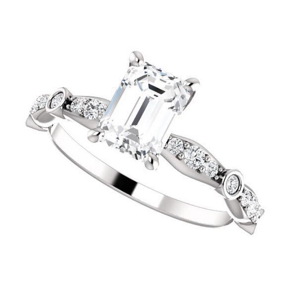 white gold vintage inspired diamond engagement ring