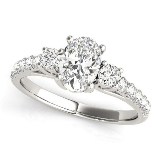 white gold three stone diamond engagement ring