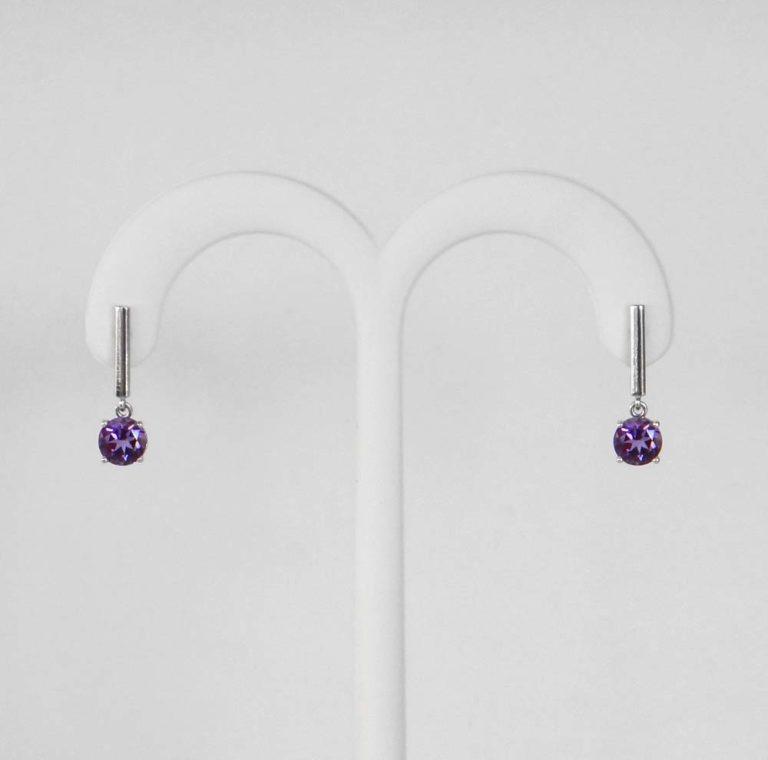 white gold amethyst dangle earrings