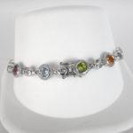 sterling silver multi gemstone bracelet clasp