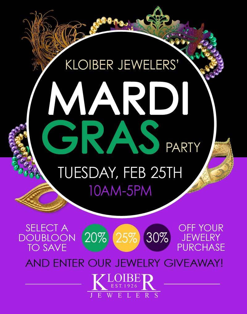 kloiber jewelers mardi gras sale event flyer