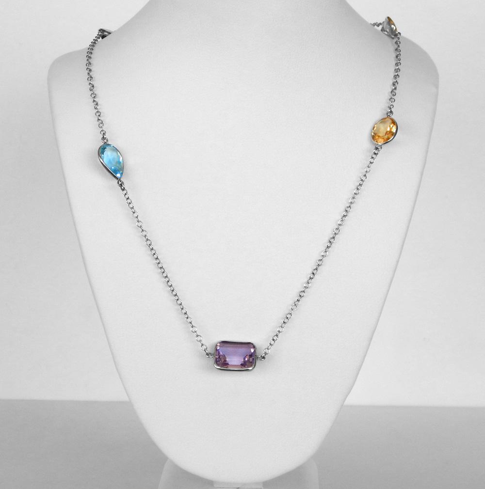 long multigemstone sterling silver necklace