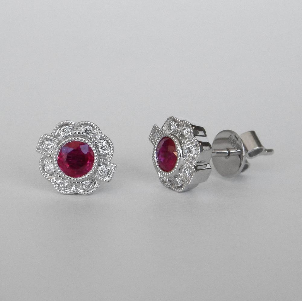ruby and diamond art deco studs