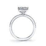 side view of trilliant cut diamond engagement ring