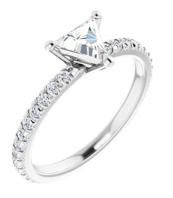 triangle diamond engagement ring