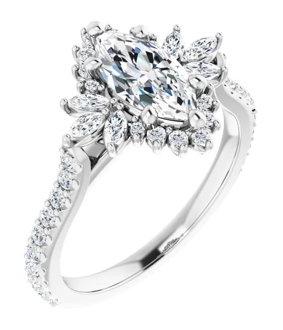 marquis diamond accented engagement ring