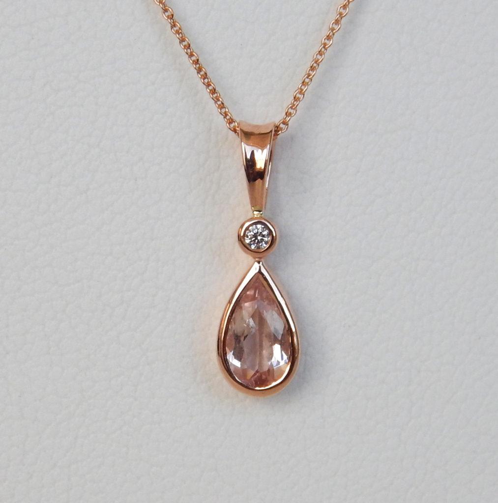 rose gold morganite and diamond pendant