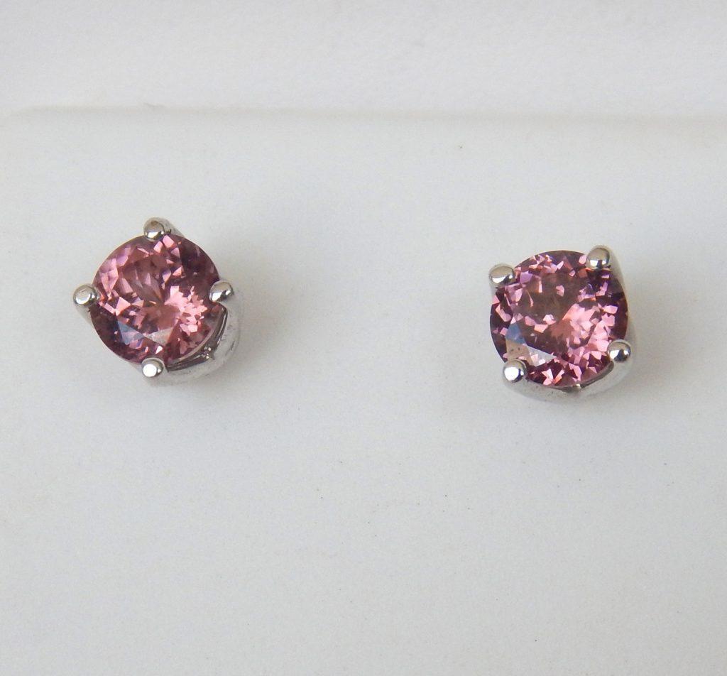 white gold pink zircon studs