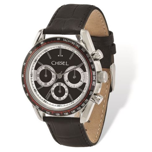 mens stainless steel black leather watch
