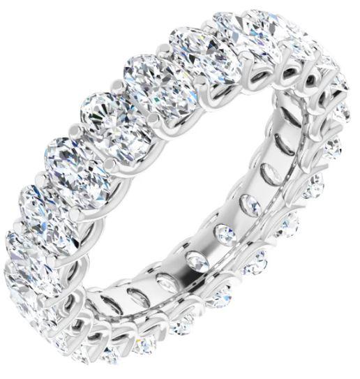 large oval diamond band