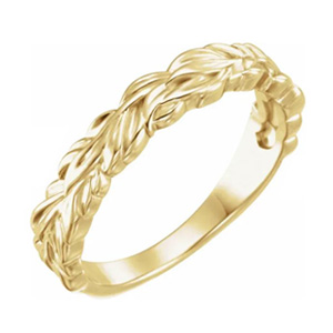 yellow gold stackable leaf ring
