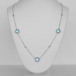 white gold blue topaz station necklace