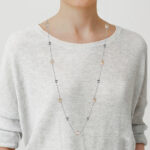 sterling silver long freshwater pearl station necklace on model