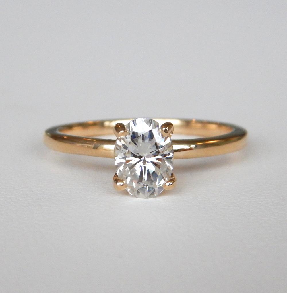 yellow gold moissanite ring