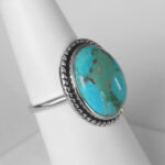 side view of sterling silver turquoise ring