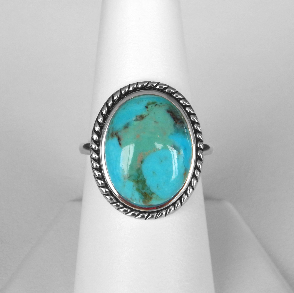 sterling silver large turquoise ring