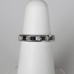 white gold black and white diamond band