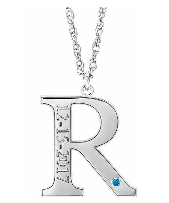 initial pendant with birthday and birthstone