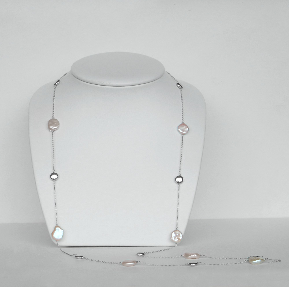 long pearl station necklace sterling silver