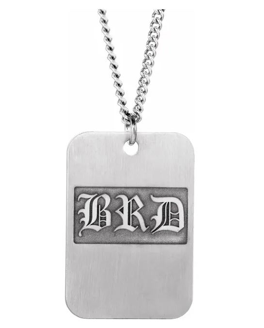 mens dog tag necklace with initials